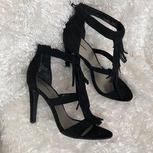 Black Fringed T-Strap Sandal Heels